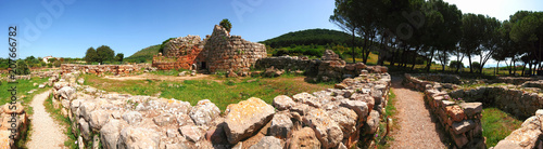 Panorama of the ancient ruined settlement