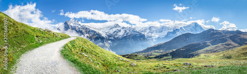 Photo Stands Pistachio Schweizer Alpen Panorama im Sommer