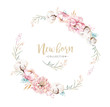 Leinwandbild Motiv Watercolor boho floral wreath with cotton. Bohemian natural frame: leaves, feathers, flowers, Isolated on white background. Artistic decoration illustration. Save the date, weddign design