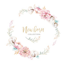 Watercolor Boho Floral Wreath ...