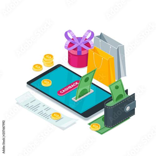 Fotografía  Cashback online service concept