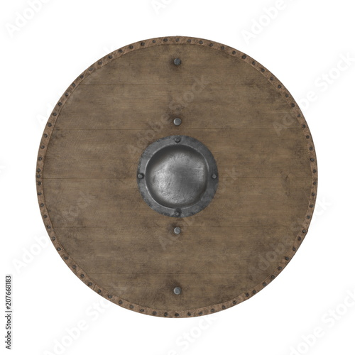 Medieval Round Wooden Shield on white. 3D illustration Canvas Print
