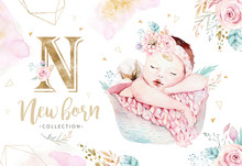 Cute Newborn Watercolor Baby. ...