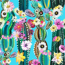 Hand Painted Blooming Cactus, Cacti, Succulents, Colofrul Seamless Pattern. Abstract Cactuses With Flowers, Florals