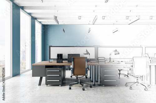 Stickers pour porte Pierre, Sable Sketch of modern office interior