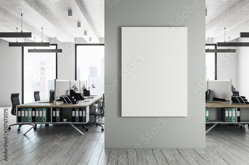 Contemporary coworking interior with banner