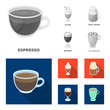 Esprecco, glase, milk shake, bicerin.Different types of coffee set collection icons in monochrome,flat style vector symbol stock illustration web.
