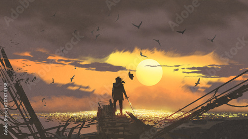 Photo the pirate with a sword standing on ruins of boat and looking at golden treasure