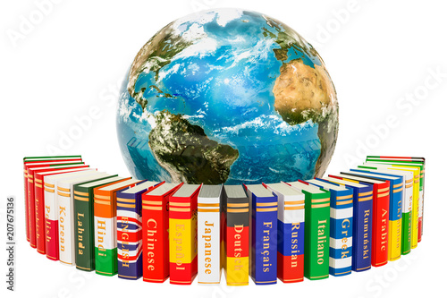 Fotografía  Languages Books with Earth Globe, 3D rendering