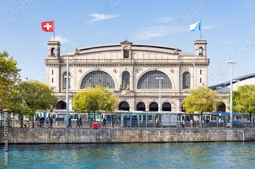 Montage in der Fensternische Bahnhof Hauptbahnhof in Zürich, Schweiz