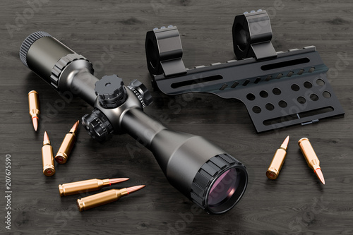 Obraz Telescopic sight, scope with bullets and mount on the wooden table. 3D rendering - fototapety do salonu