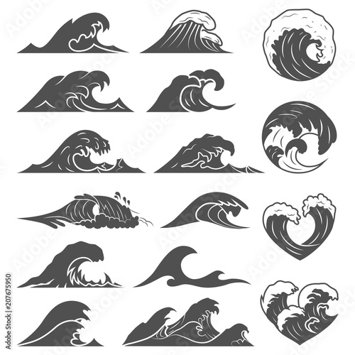 Ocean waves collection. Sea storm wave isolated. Waves, water elements set. Nature wave water storm linear style illustration Fototapete