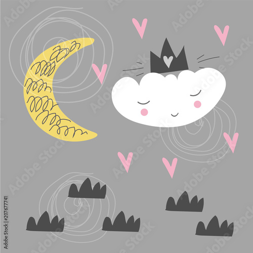 Cute Scandinavian Poster With Cloud Moon And Hearts Kids Drawing