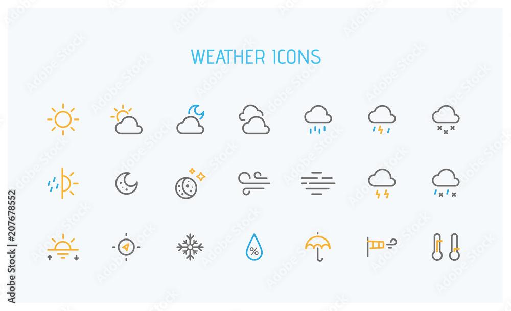Fototapety, obrazy: Modern weather icons set. Flat vector symbols