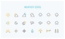 Modern Weather Icons Set. Flat...