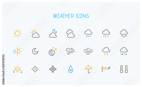 Fotografie, Tablou Modern weather icons set. Flat vector symbols