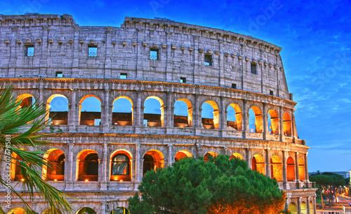 Valokuva  The Colosseum or Coliseum in the city of Rome, Italy.