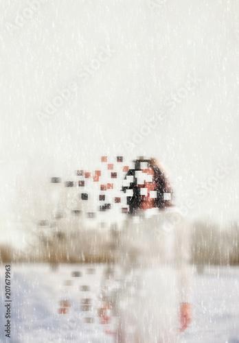 Cuadros en Lienzo faceless women in a cold winter scene