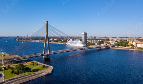 Keuken foto achterwand Brug An aerial view of the Vansu bridge or suspension bridge that spans the river Daugava in the Latvian capital of Riga.