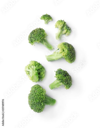 Flat lay composition with fresh green broccoli on light background Canvas Print