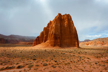 Temple Of The Sun, Capitol Reef National Park, Utah. A Remote, Stark Desert Characterized By Amazingly Beautiful Sandstone Monoliths That Some Say Resemble Cathedrals.