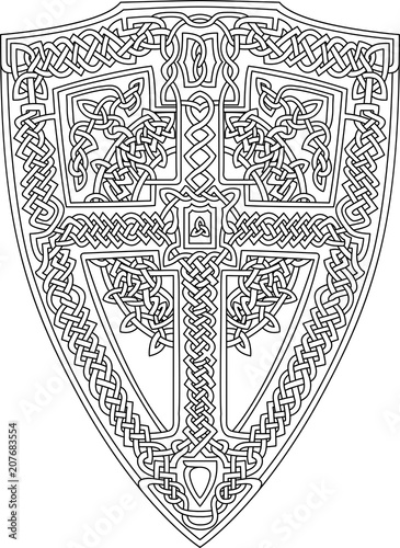 Coloring book page with decorative celtic shield on white ...