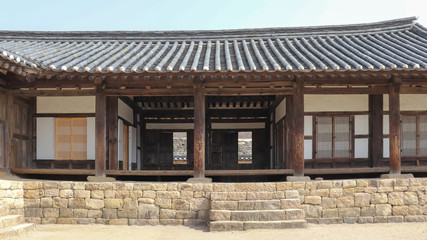 The front view of Korean traditional house.