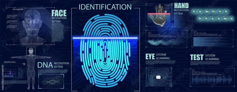 Fototapeta Biometrics Set HUD Elements. Authorization verification biometric scanners set of editable text and neon colored electronic interface elements for identification vector illustration
