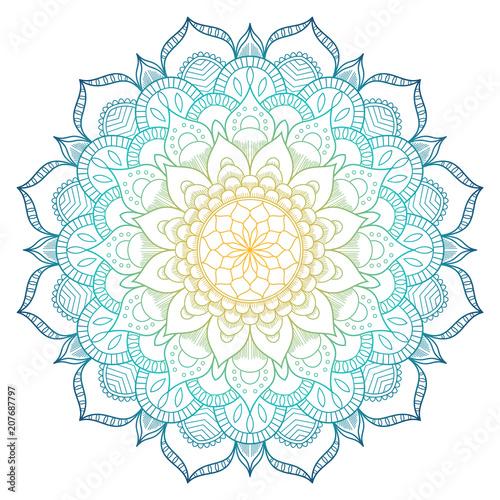 Foto auf AluDibond Boho-Stil Mandala pattern colored background. Vector illustration. Meditation element for India yoga. Ornament for decorating a greeting. Set of vintage Wedding Invitation card