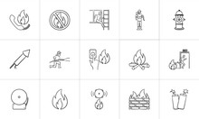 Fire Outline Doodle Icon Set For Print, Web, Mobile And Infographics. Hand Drawn Fire Vector Sketch Illustration Set Isolated On White Background.