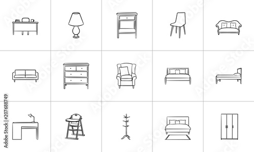 Fotografie, Obraz  Furniture outline doodle icon set for print, web, mobile and infographics