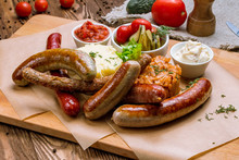 Assorted Sausages With Sauces