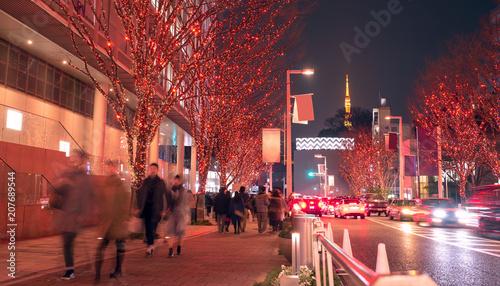 Fotobehang Tokyo Winter illumination at Roppongi Hills and Tokyo Tower 六本木けやき坂イルミネーション