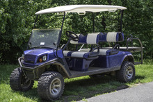 Blue-white Dirty Club Car Golf...