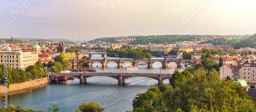Fototapeta Most Beautiful Bridges in Prague, Panoramic View at Sunset obraz na płótnie