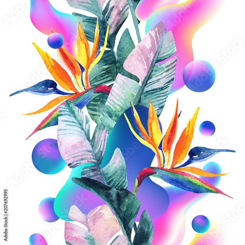 Fotoposter Grafische Prints Abstract soft gradient blur, colorful fluid and geometric shapes, watercolor palm drawing.