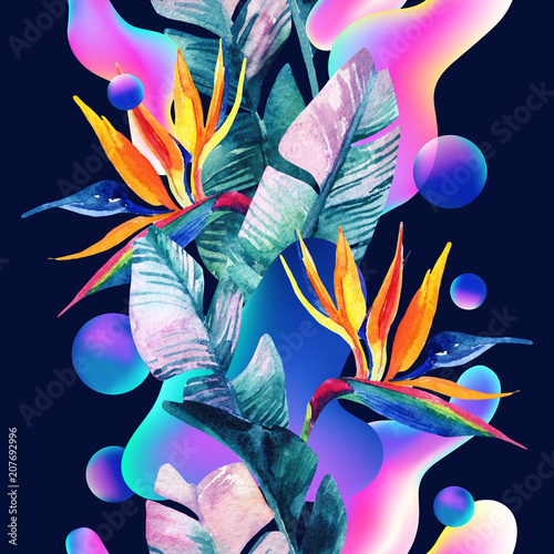La pose en embrasure Empreintes Graphiques Abstract soft gradient blur, colorful fluid and geometric shapes, watercolor palm drawing.