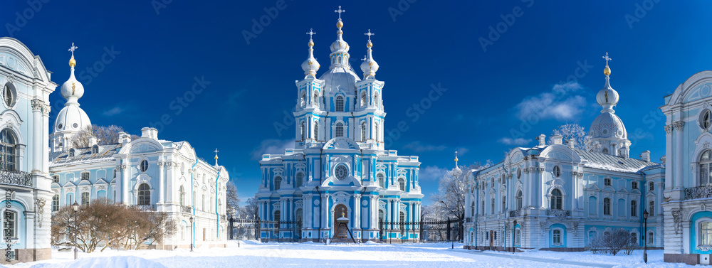 Fototapety, obrazy: Saint Petersburg. View of the Smolny Cathedral. Russia. Winter in Petersburg. Panorama of the Smolny Cathedral. Panorama of Petersburg in winter.