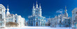 Leinwandbild Motiv Saint Petersburg. View of the Smolny Cathedral. Russia. Winter in Petersburg. Panorama of the Smolny Cathedral. Panorama of Petersburg in winter.
