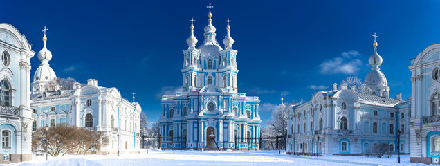 Saint Petersburg. View of the Smolny Cathedral. Russia. Winter in Petersburg. Panorama of the Smolny Cathedral. Panorama of Petersburg in winter.
