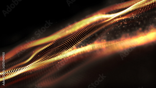 Futuristic gold digital abstract luxurious sparkling wave particles flow de-focus background