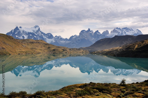 Fall at Rio Pehoe, mirroringTorres del Paine national park, Patagonia, Chile Canvas Print