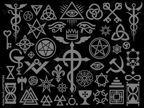 Photo  Medieval Occult Signs And Magic Stamps, Sigils, Locks, Knots