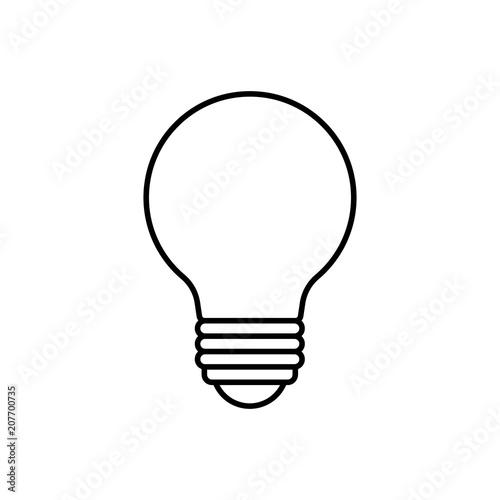 Cartoon Lightbulb Black Line White Background Buy This Stock
