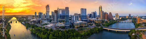 Wall Murals Texas Austin Skyline in the evening