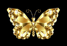 Gold Polygonal Butterfly