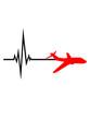 logo puls frequenz herzschlag linienflugzeug flugzeug fliegen pilot urlaub reisen flug jumbojet groß design cool clipart