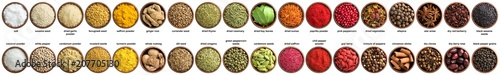 big set of indian spices and herbs isolated on white background. Colorful seasoning for spicing food