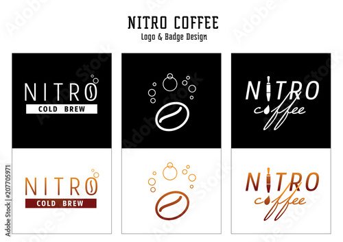 Fotomural nitro coffee logo and badge design