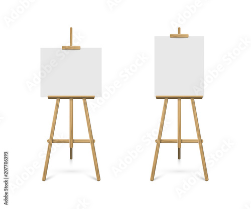 Easels with horizontal and vertical paper sheets Canvas Print
